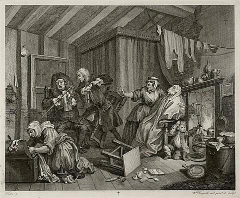 "Doctors debate while patient dies in Hogarth's ""Harlot's Progress,"" plate V"