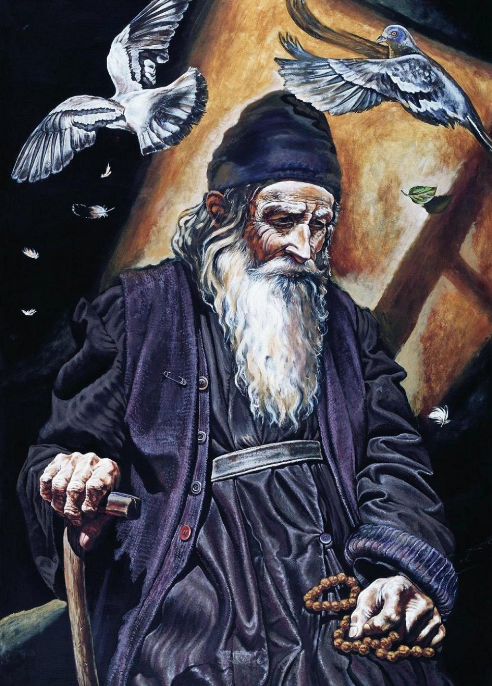An Elder with Birds (Fr Mikhail Maleyev, 2003)