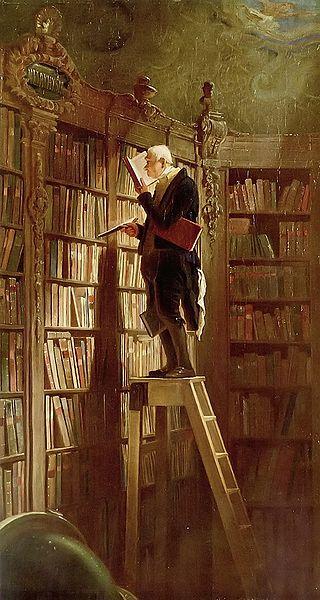 """Carl Spitzweg, """"The Bookworm"""" (1850)"""