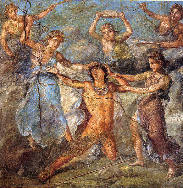 Pentheus torn apart by the Bacchae