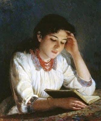 "Ilya Galkin, ""Reading"" (1890)"