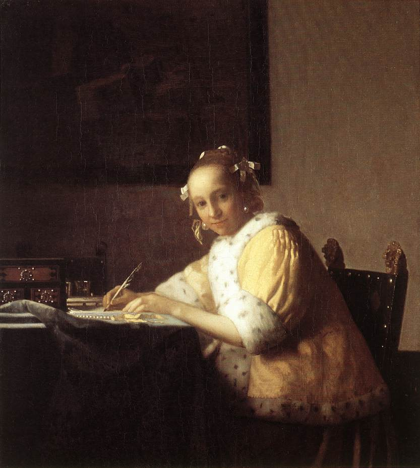 "Johannes Vermeer, ""A Lady Writing"""