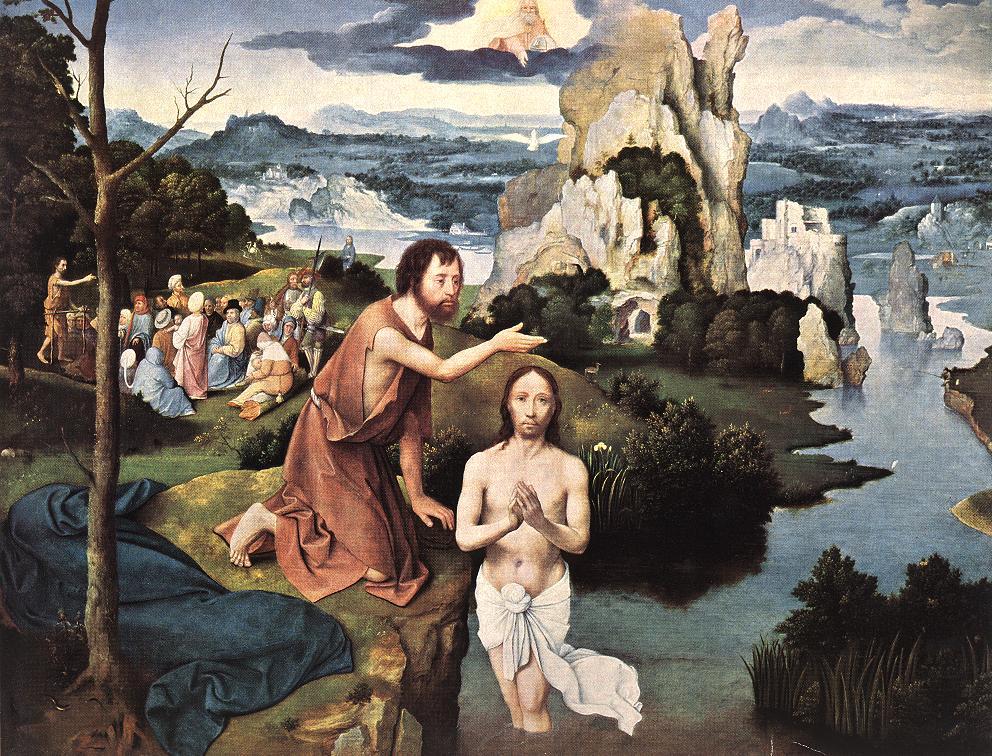 "Joachim Patinir, ""Baptism of Christ"" (early 16th c)"