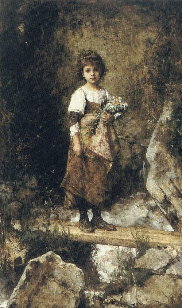"Alexei Harlamoff, ""Peasant Girl on a Footbridge"""