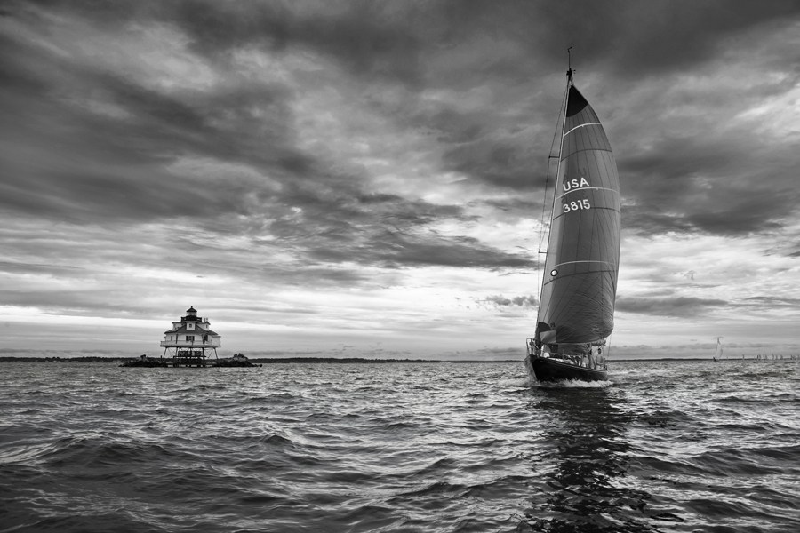 "Greg Pease, ""Yacht Racing Past Thomas Point Light House"""