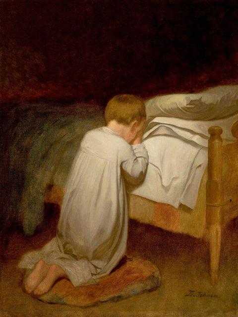 "Eastman Johnson, ""Child at Prayer"""