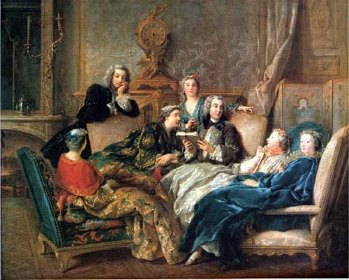 """Jean François de Troy, """"A Reading of Molière"""" (1728)"""