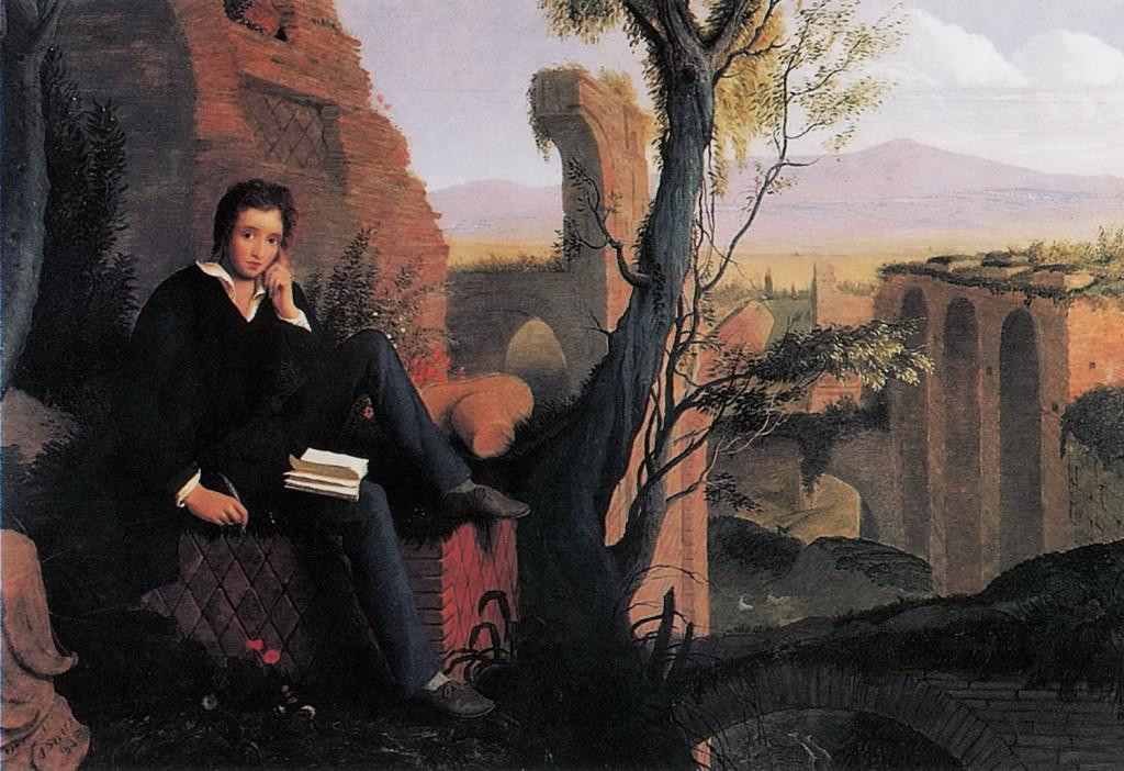 "Joseph Severn, ""Posthumous portrait of Shelley writing 'Prometheus Unbound'"""