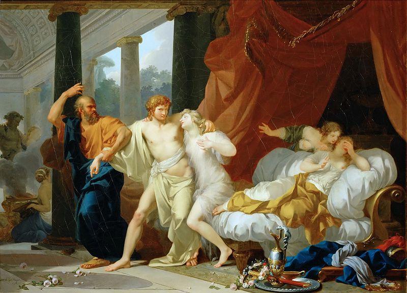 "Jean-Baptiste Regnault, ""Socrates Tears Alcibiades from the Grasp of Sensual Pleasure"""