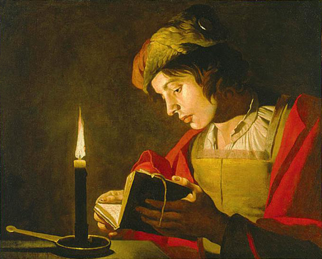 """Matthias Stom, """"Young Man Reading by Candlelight"""""""
