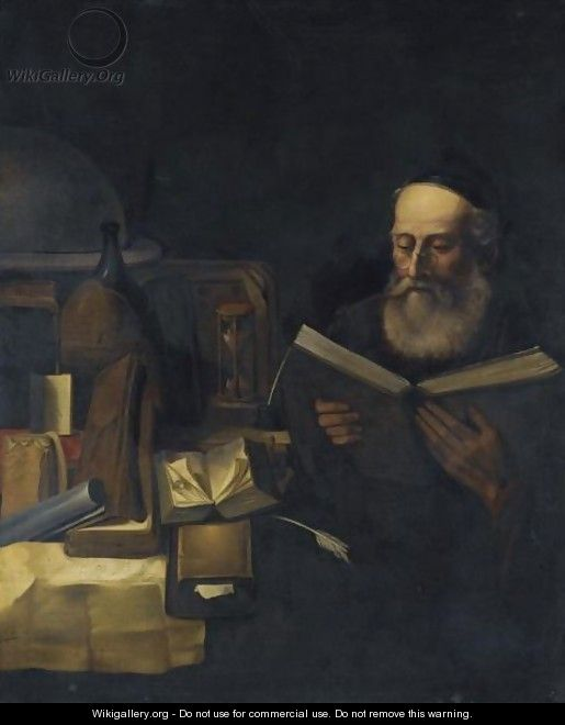 A Scholar In His Study Reading - (after) Willem Van Drielenburg
