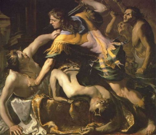 "Bernardino Mei, ""Orestes Slaying Aegisthus and Clytemnestra"""