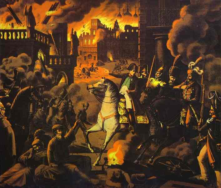 Napoleon and Moscow on fire, artist unknown