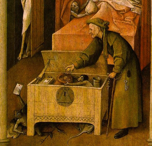 "Hieronymus Bosch, detail from ""Death and the Miser"""