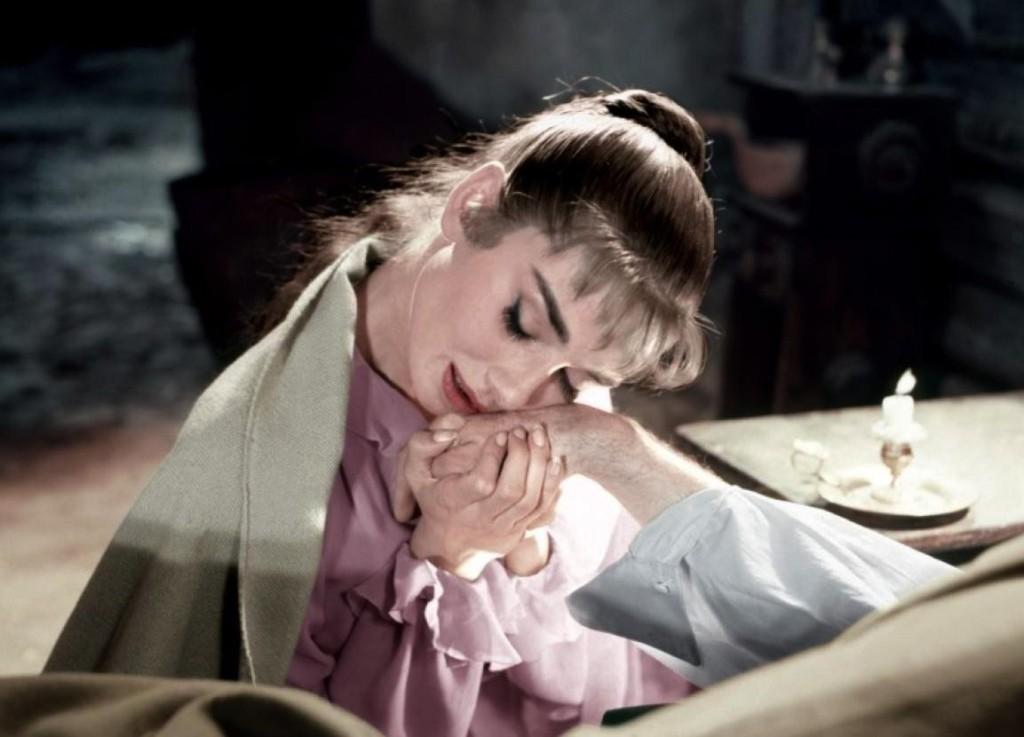 """Hepburn as Natasa in """"War and Peace"""" (1956)"""