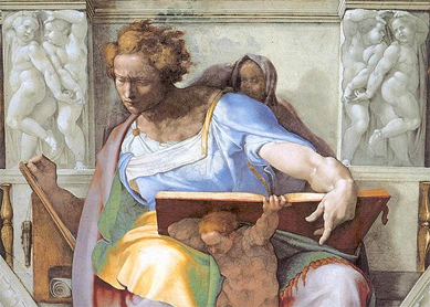 "Michelangel, ""The Prophet Daniel"" (detail from Sistine Chapel"""