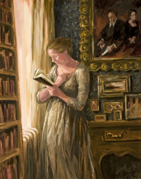 "Mary Ferris Kelly, ""Woman Reading in a Study"""