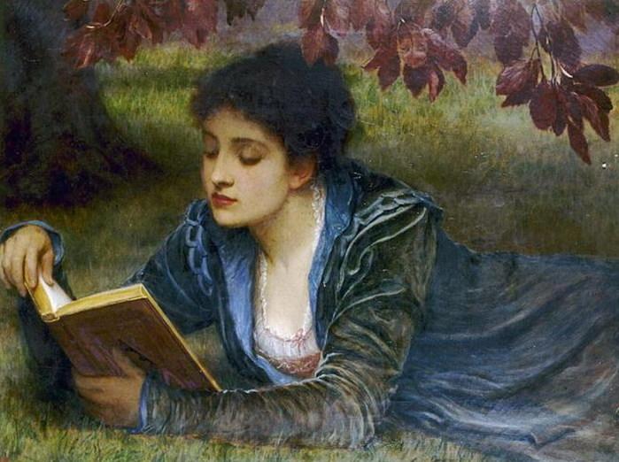 "Charles Edward Perugini, ""Girl Reading"""