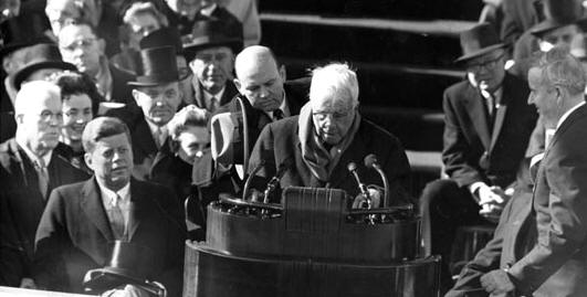 "Frost reading ""The Gift Outright"" at Kennedy's inauguration"