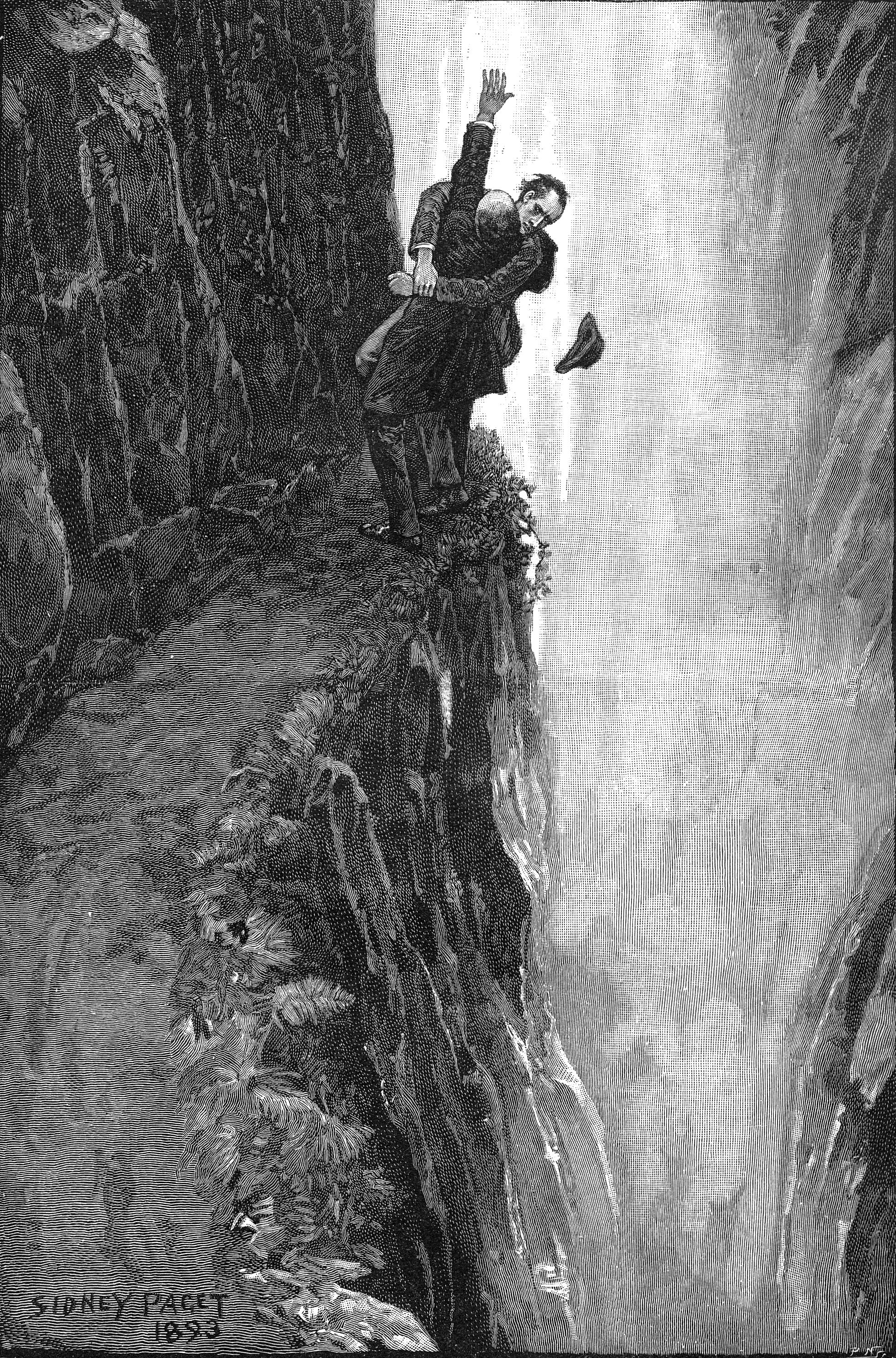 Sidney Paget, Holmes and Moriarty wrestle at Reichenbach Falls