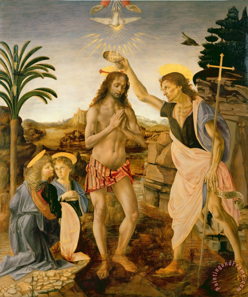 "Leonardo da Vinci, ""Baptism of Christ by John the Baptist"""
