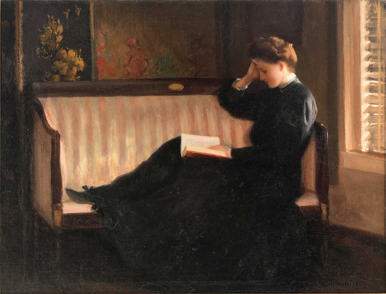 "William Churchill, ""Woman Reading on a Settee"""