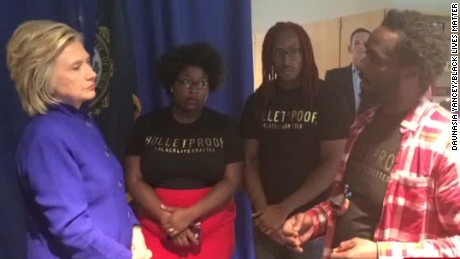 Clinton listens to Black Lives Matter protesters