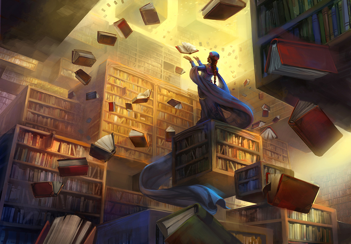 "Julie Dillon, ""The Archivist"" {cover art for program of 37th International Conference on the Fantastic in the Arts)"