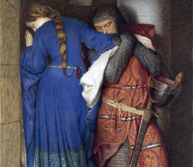 """Frederic William Burton. """"Hellelil and Hildebrand, The Meeting on the Turret Stairs"""""""