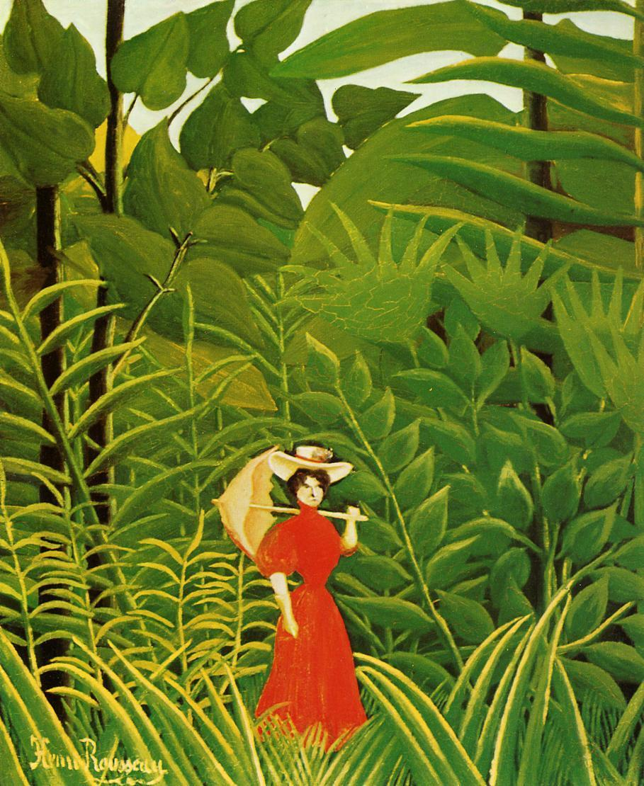 "Henri Rousseau, ""Woman in Red in the Forest"""