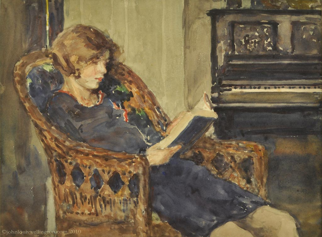 "John Louis Wellington, ""Woman Reading a Book"""