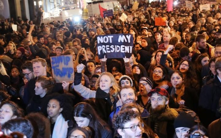 New York anti-Trump demonstration Thursday night